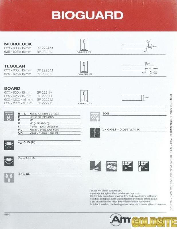 Плита подвесного потолка Bioguard / Биогард Armstrong