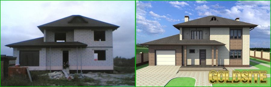Goldsite Дизайн фасада (экстерьера)  с визуализацией и чертежами.