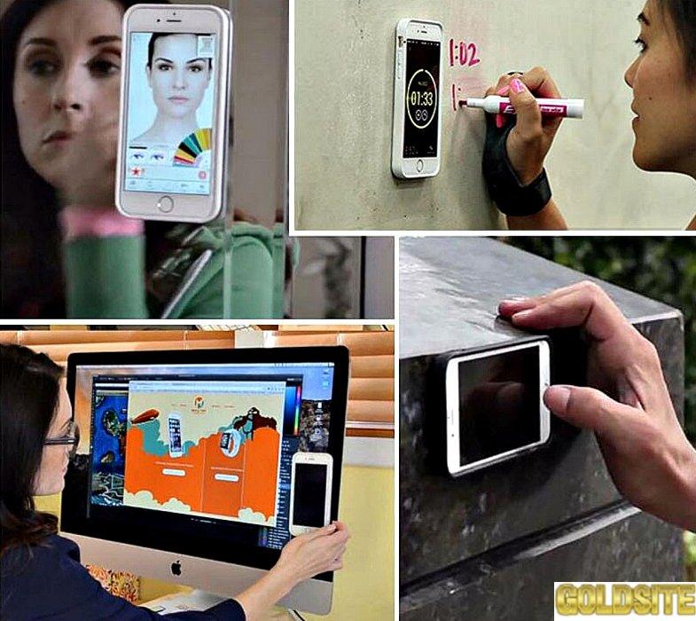 Чехол с наноприсосками для всех моделей iPhone и Samsung.