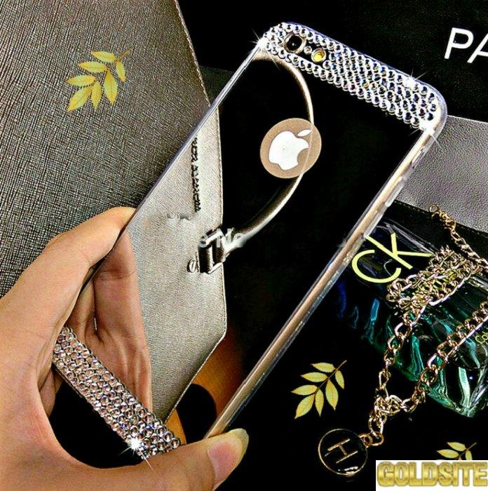 Золотой зеркальный чехол для всех моделей iPhone и Samsung.