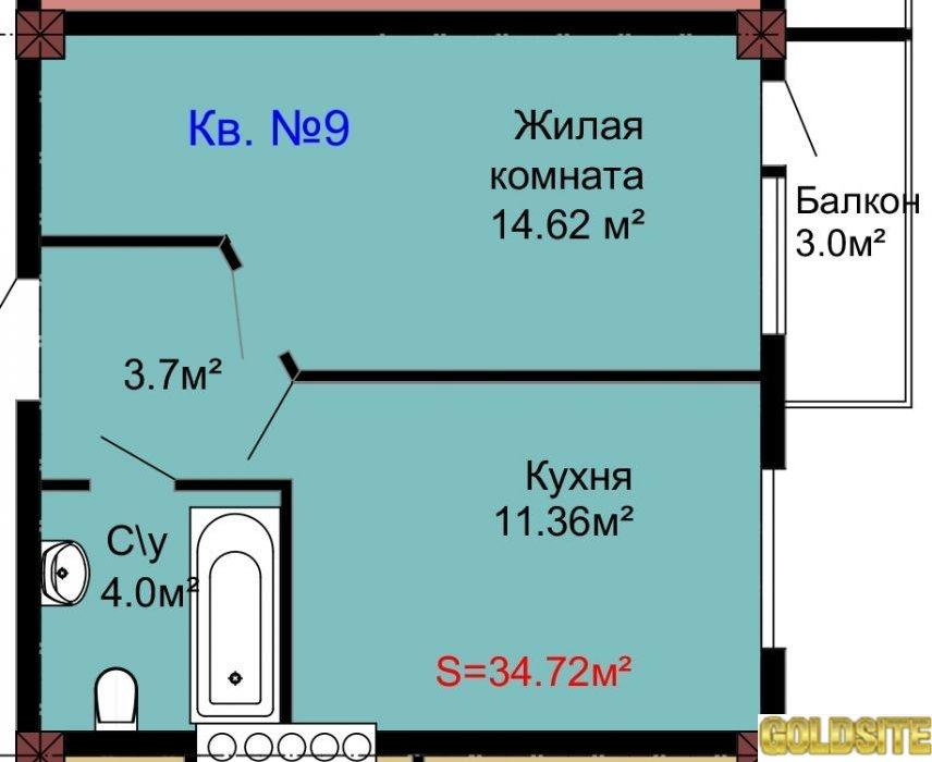 1-к квартира от застройщика 34, 72 кв. м.  2 этаж.  Севастополь.