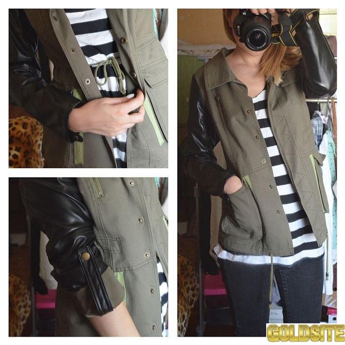 Куртка с рукавами из кож зама