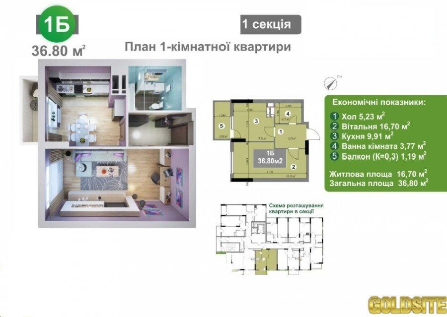 1-к квартира от собственника