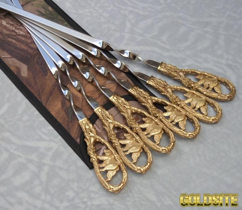 Шампура Медведь набор шампуров в чехле из плотной ткани 6шт