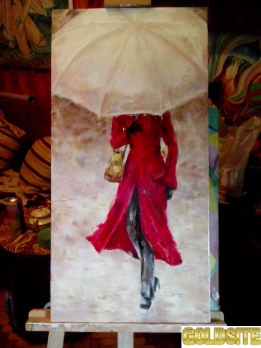 """Картина маслом """" женщина под  зонтом"""""""