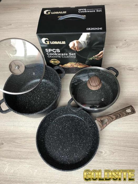 Набор кастрюль и сковорода c мраморным покрытием 5 предметов