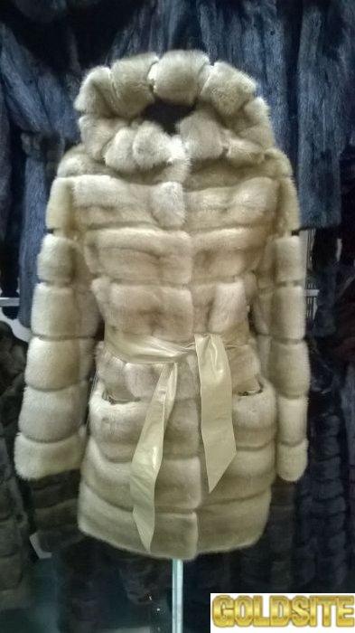 Норковая шуба поперечный уклад меха по распродаже