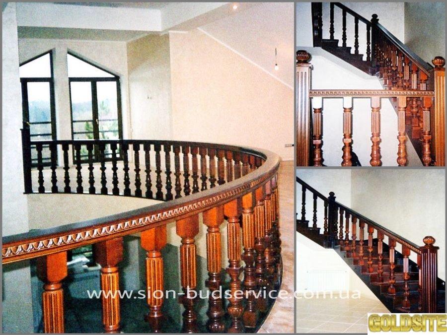 Деревянные изогнутые поручни,  радиусные ограждения,  для лестниц.