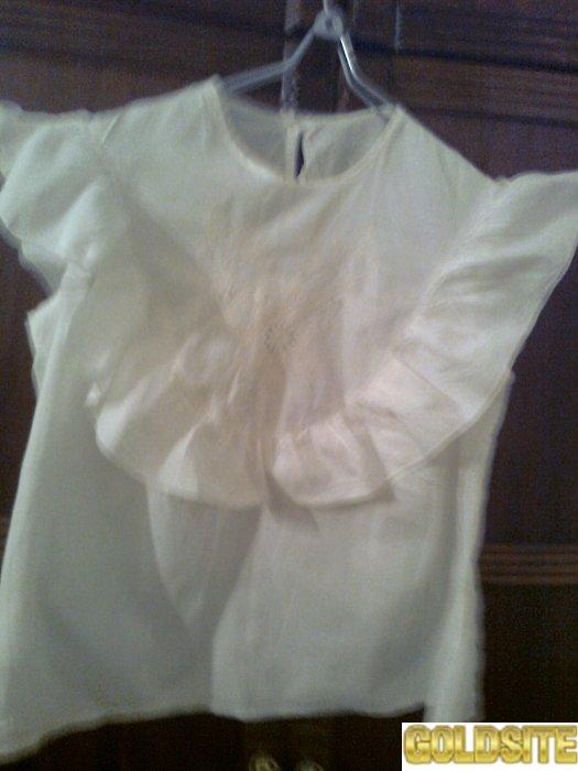 Красивая белая кофта с воланами из хлопка.   Индия.   Новая