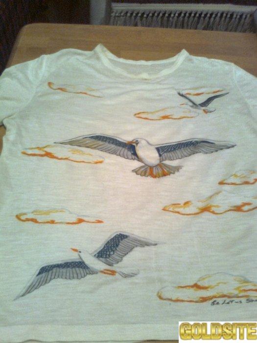 Стильная футболка с птицами