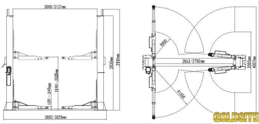 Автомобильный подъемник двухстоечный PEAK 212  5, 5 тонн.